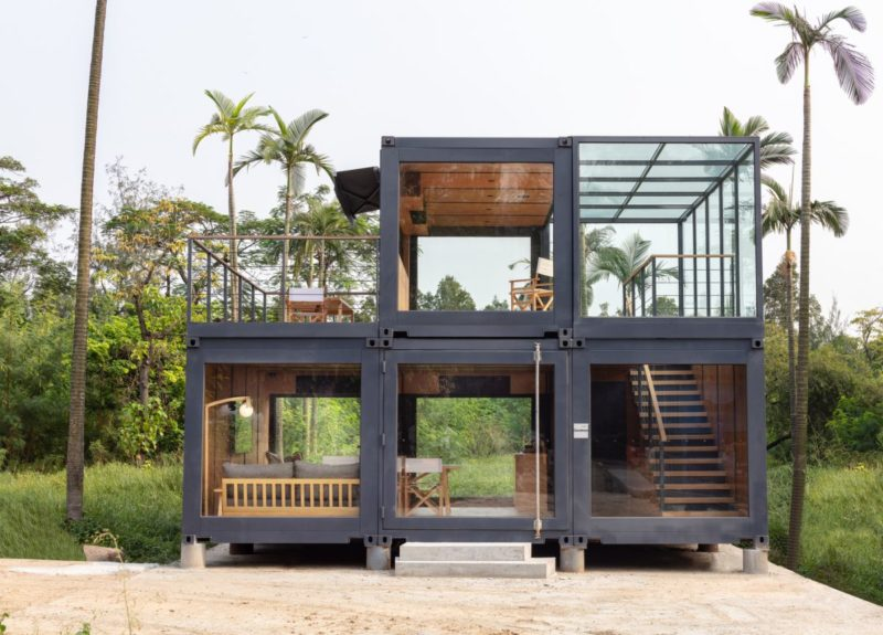 Modular Shipping Container Building Which Can Be Collapsed And Relocated
