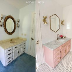 Guest bathroom remodel with pastel pink