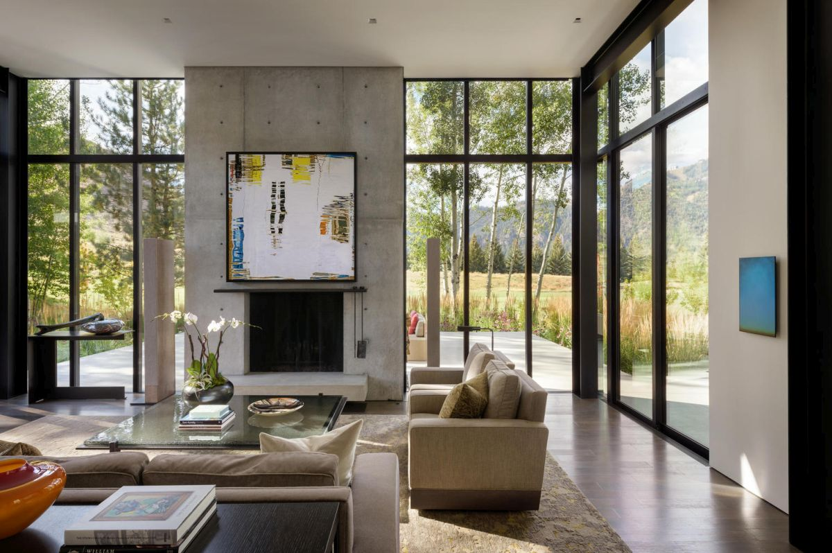 Contemporary art pieces are displayed on almost every wall in the house