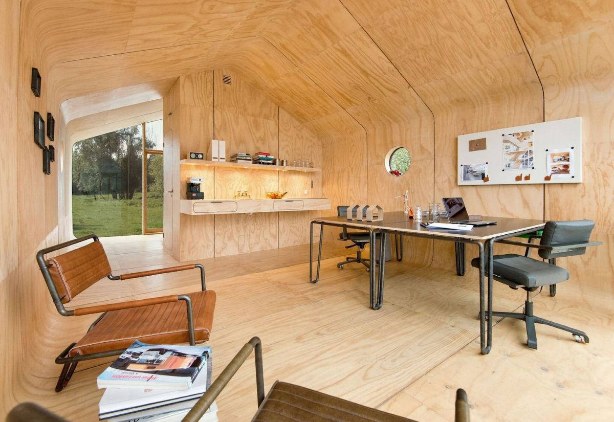 On the inside, A Wikkelhouse looks like a tiny plywood home with minimal features