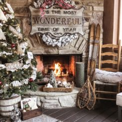 Rustic stone fireplace decor for Christmas