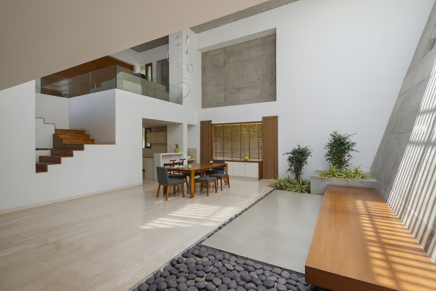 The double-height areas look and feel very bright, airy and spacious