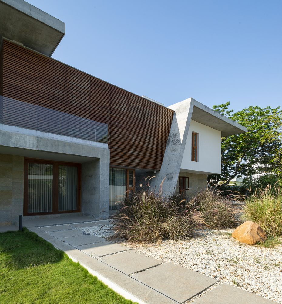 The private sections of the house have wooden louvers