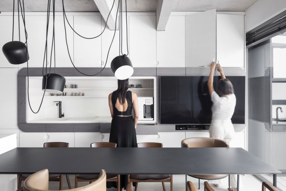 The kitchen just like most of the ground floor is designed with a neutral color palette