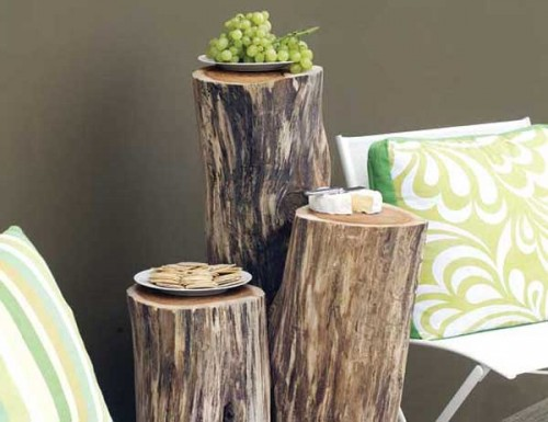 Wood Logs Into Outdoor Furniture