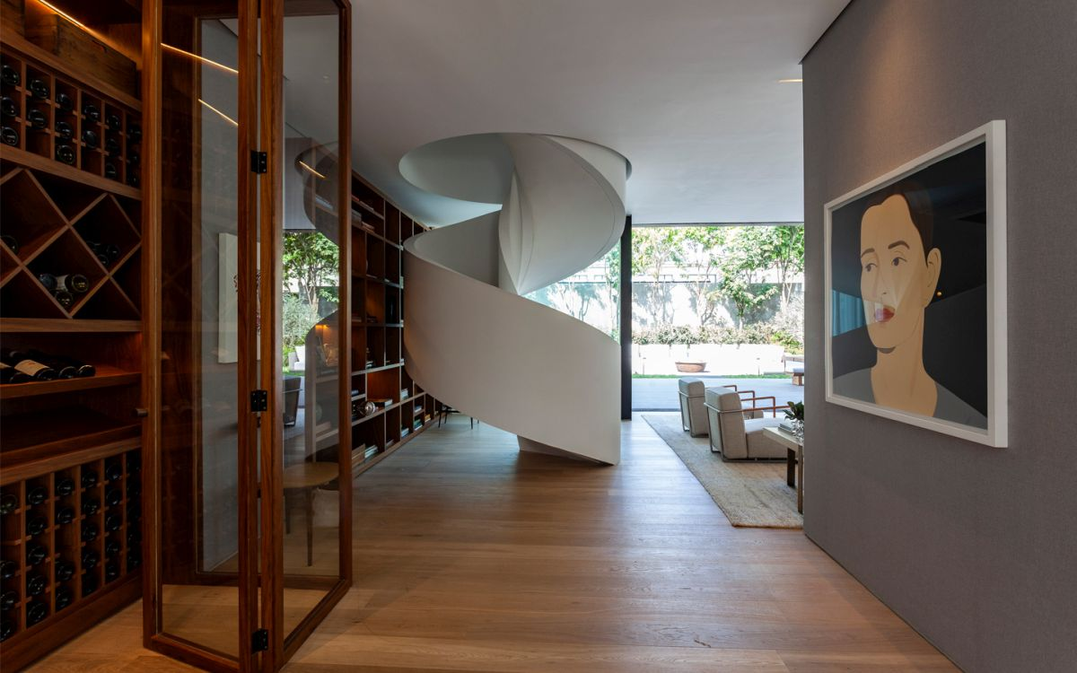 The spiral staircase is a beautiful focal for the ground floor area