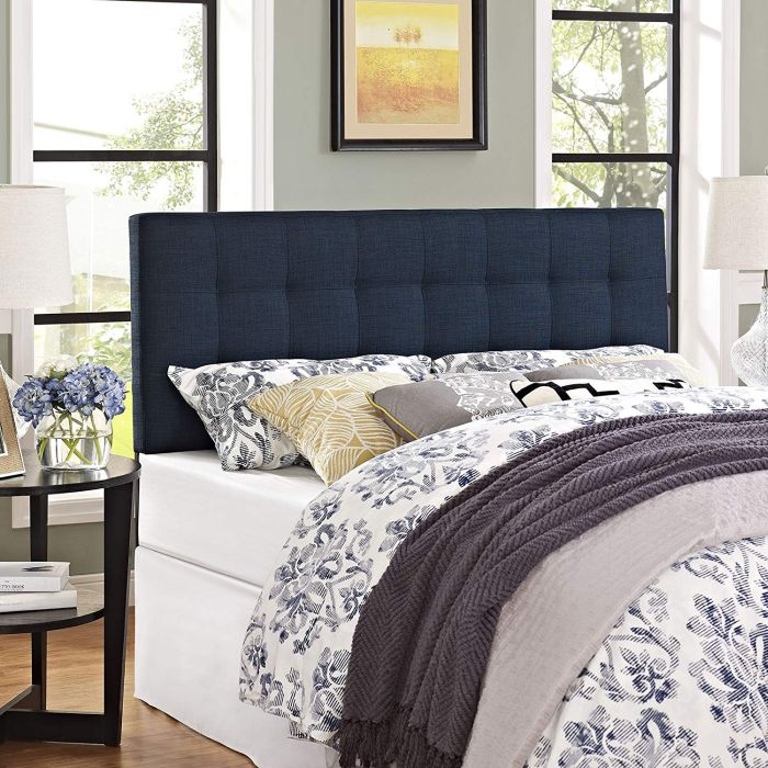 Fabric Upholstered Queen Headboard in Navy