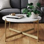 Faux Marble Round Table with Brass Legs