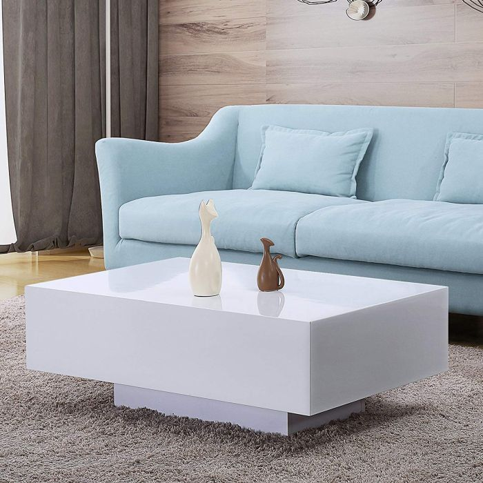 High Gloss White Rectangle Coffee Table
