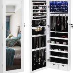 Wall-Door Mounted Jewelry Armoire Organizer with Mirror