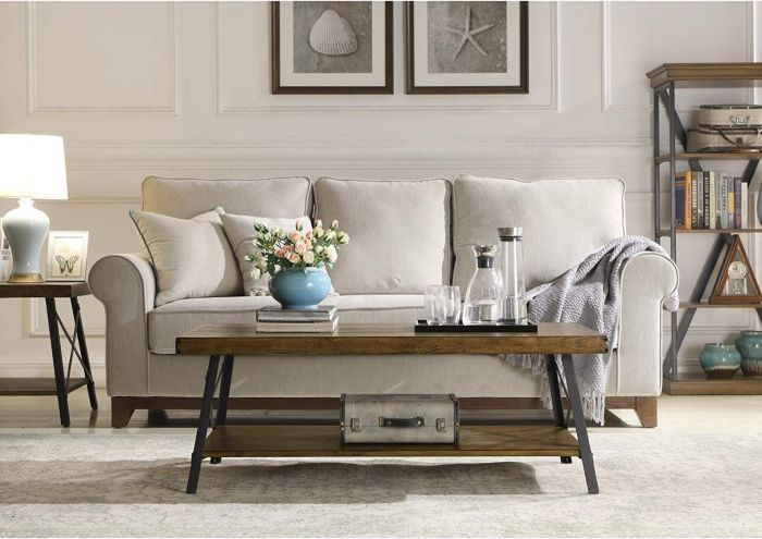 Rustic Coffee Table With Wooden Shelf