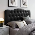 Tufted Button Faux Leather Upholstered Queen Headboard in Black