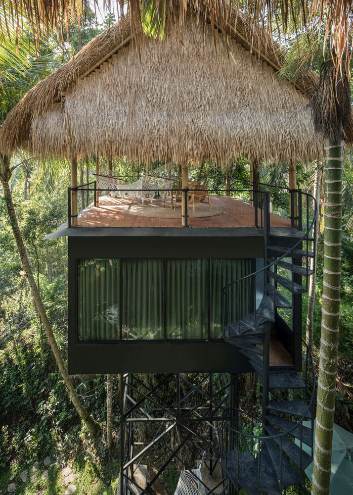 The tall trees provide shading as well as privacy and fill the entire site