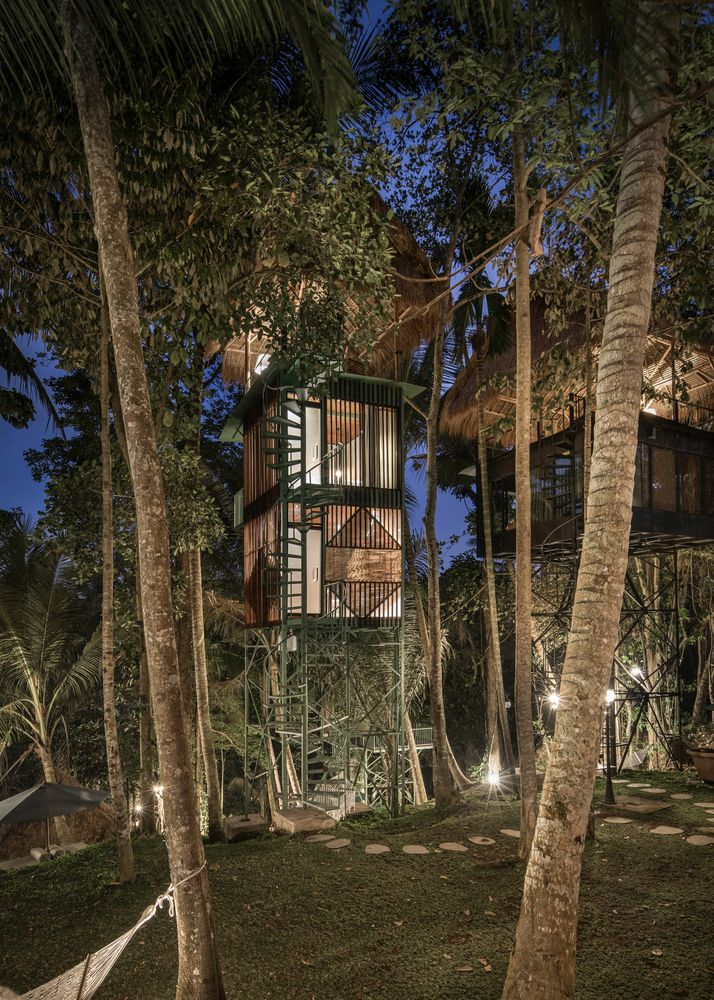 The palette of materials used throughout the project helps the structures blend in with their surroundings