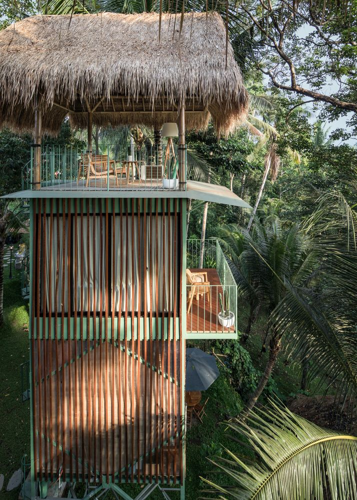 Different towers house different functions such as private suites or common spaces like a yoga deck