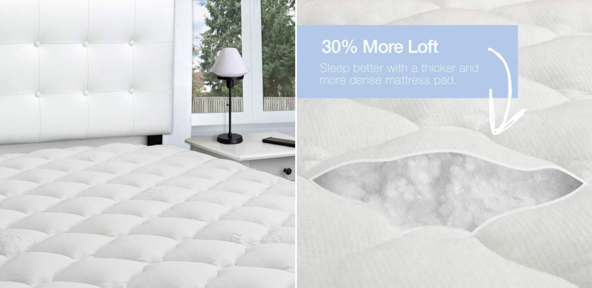 eLuxurySupply Rayon from Bamboo Extra Thick Mattress Pad with Fitted Skirt - Extra Plush Cooling Topper
