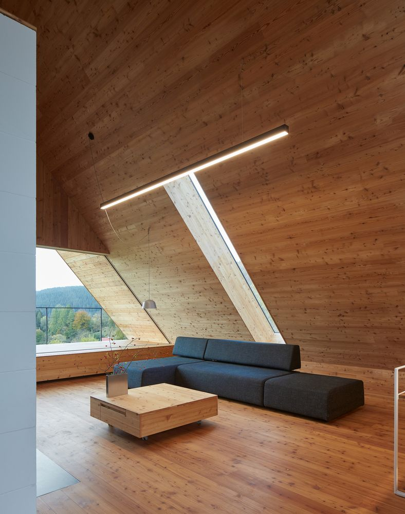 To make up for the fact that there's a pitched roof, the architects integrated several skylights into the design