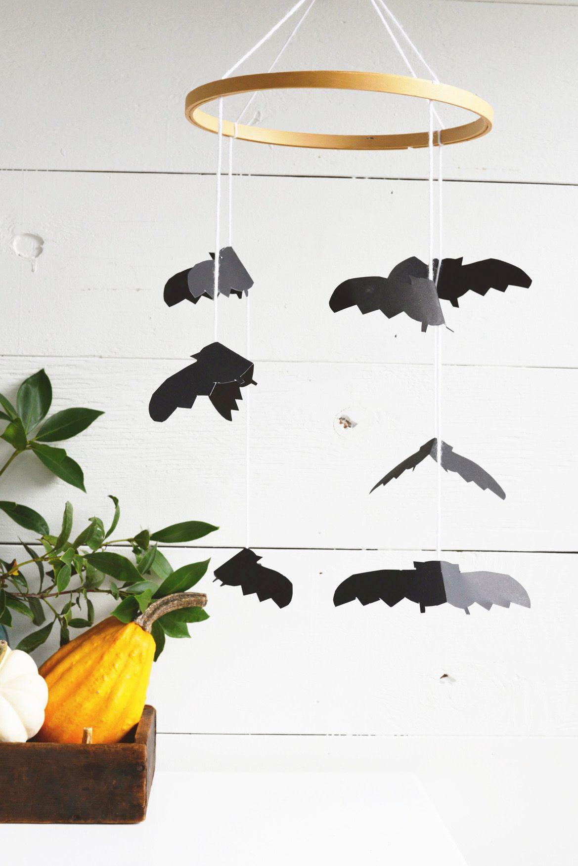 Embroidery Hoop Halloween-themed bat mobile