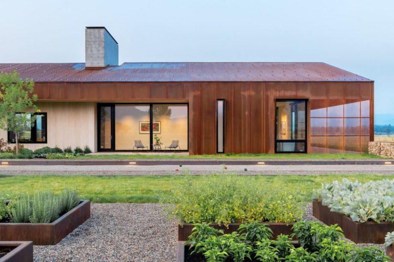 Modern Corten Steel Barn With An Asymmetrical Roof