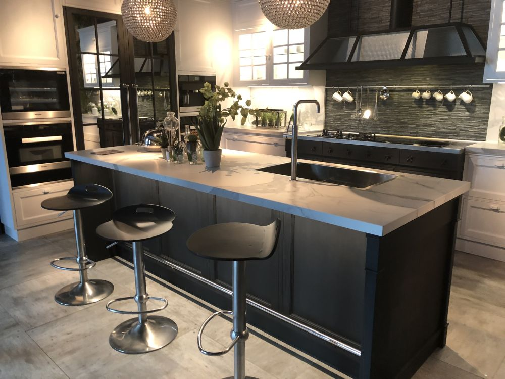 Kitchen island and dark cabinets