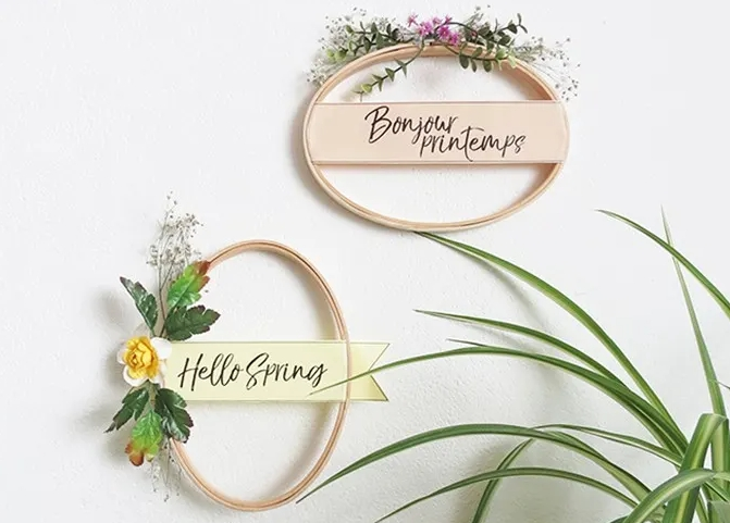Spring wreaths with banners and flowers