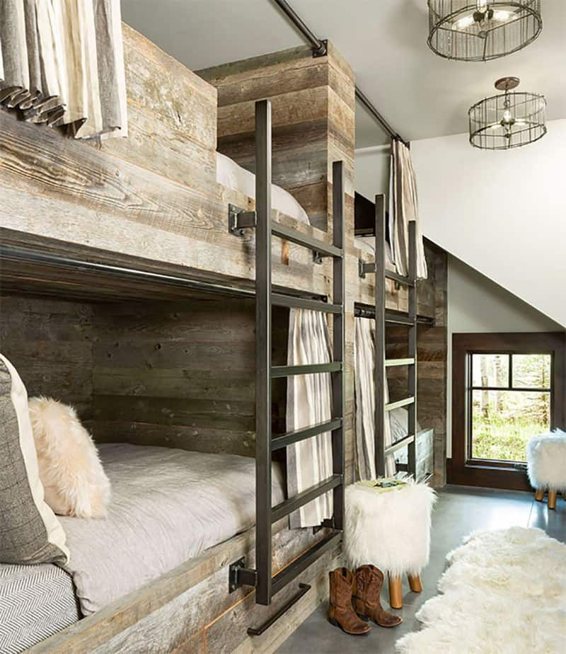 The guest bedroom is quite small and features six built-in bunk beds placed along the wall