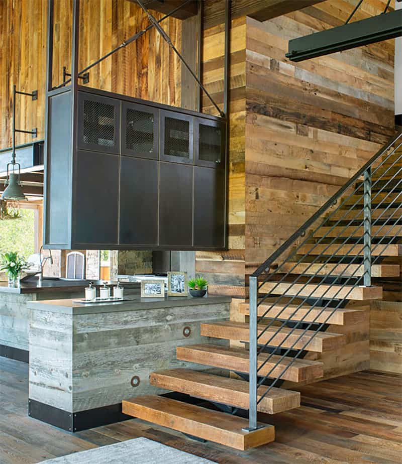 The overall direction is towards a rustic-industrial interior design with modern influences