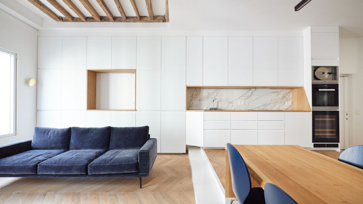 A lot of the big furniture pieces are cleverly blending into the walls