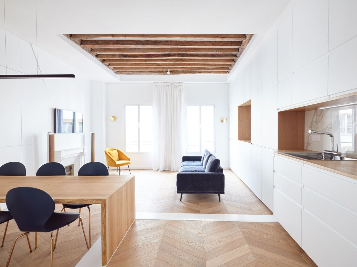 All the furniture inside the apartment was custom-designed and complement the spaces perfectly