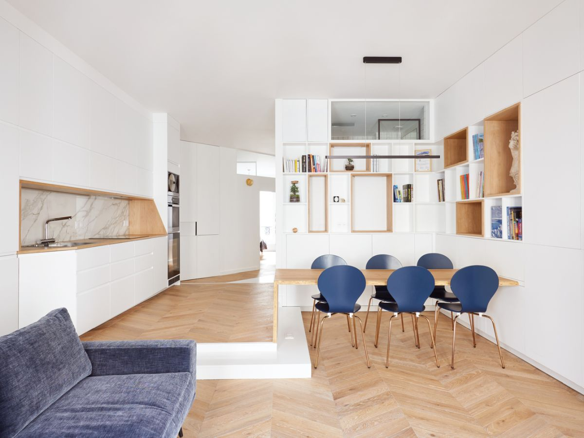 The new design aesthetic of the apartment is focused on simplicity and openness