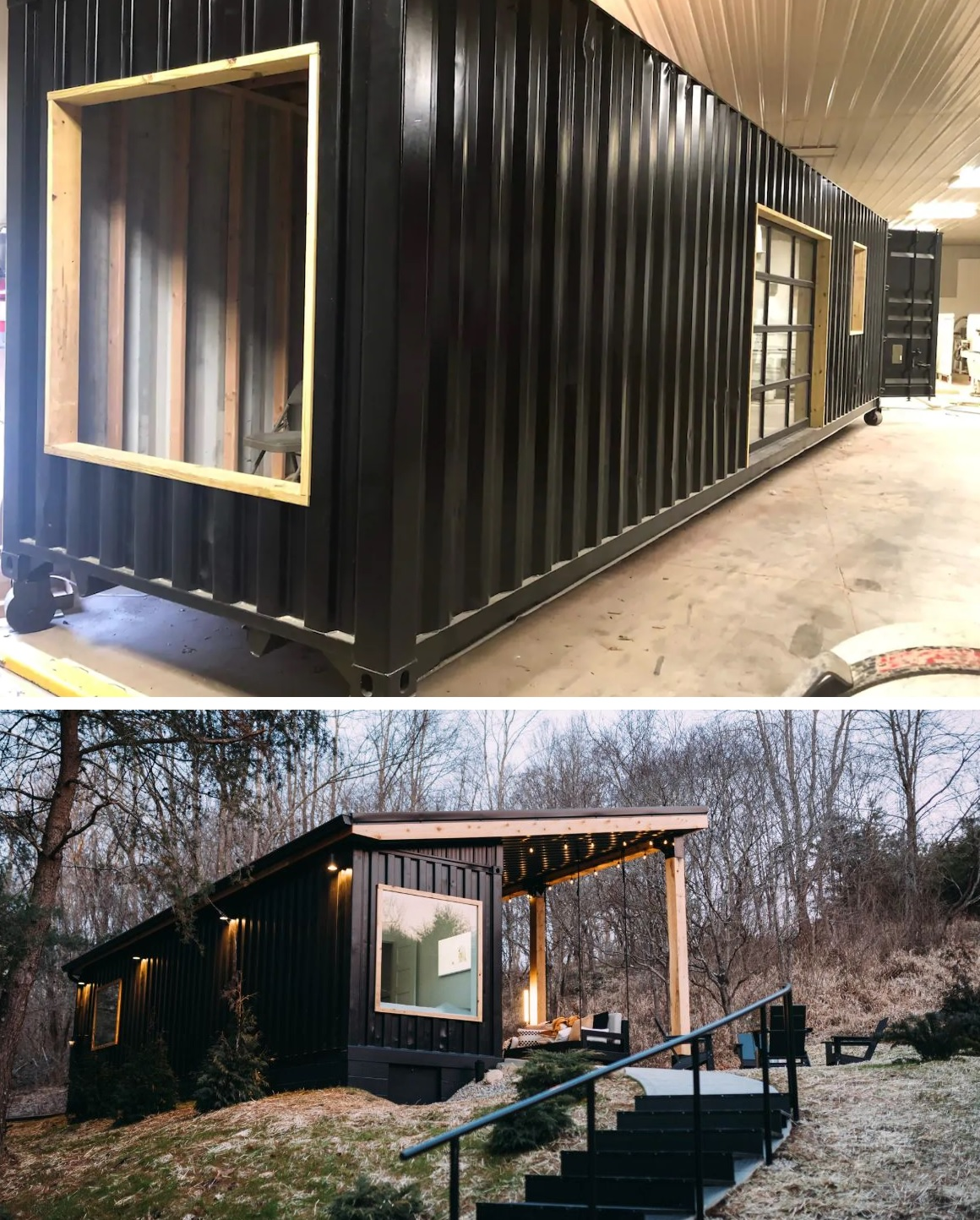The exterior of the container is black and that allows it to more easily blend into the landscape