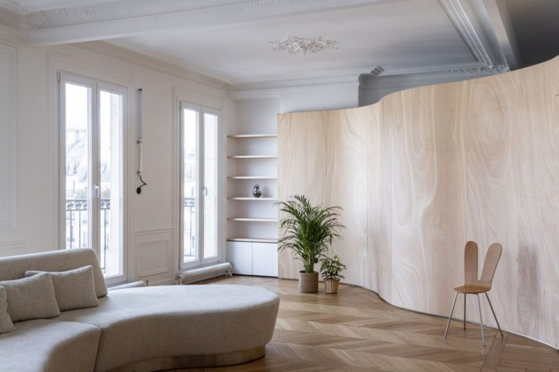 Historic Apartment Redefined By A Wood Ribbon Wall