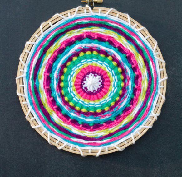 A colorful weaving loom using assorted yarn