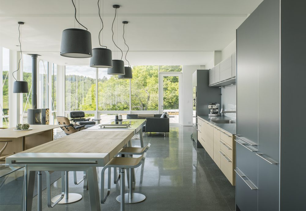 The kitchen, living room and dining are are all connected into a large open volume