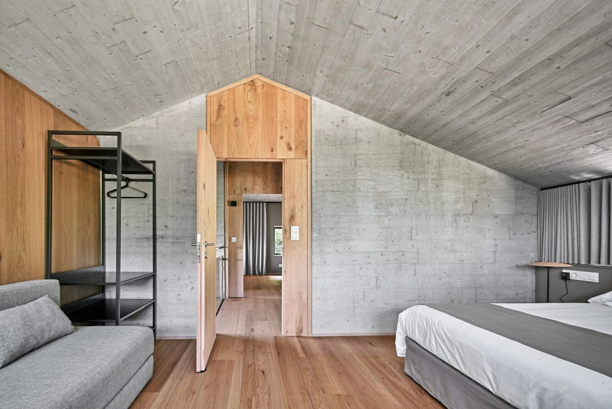 The bedrooms occupy the top two floors and have very simple interior decors