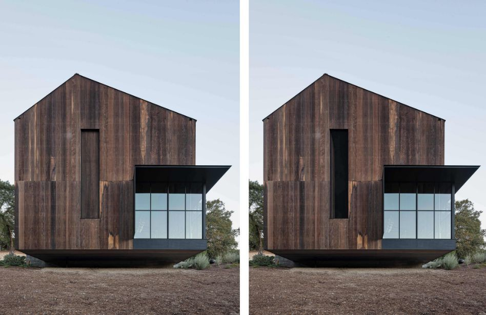 The tall vertical windows have wooden shutters which fit seamlessly within the facades