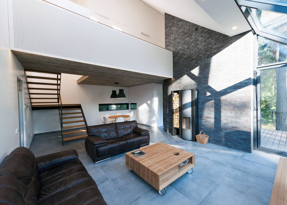 At the center of the house there's a double-height living space