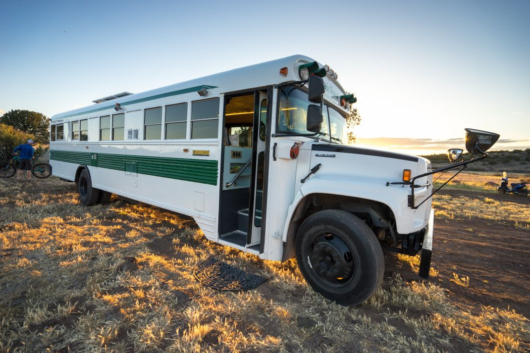 The bus is sufficiently big to be turned into a comfortable and practical home