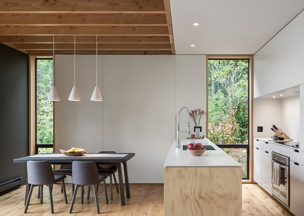 All the common spaces are placed on the ground floor and form an open plan