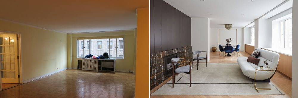 In order to achieve this magnificent new design, the apartment's original layout suffered major changes
