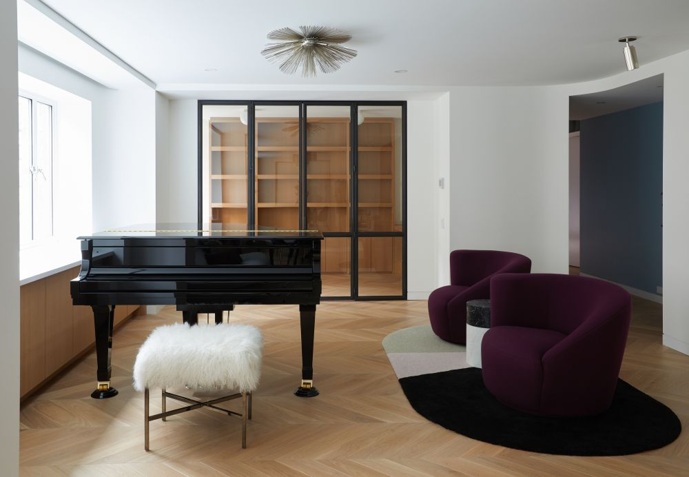 There's also a separate music room with a similarly simple yet very elegant design
