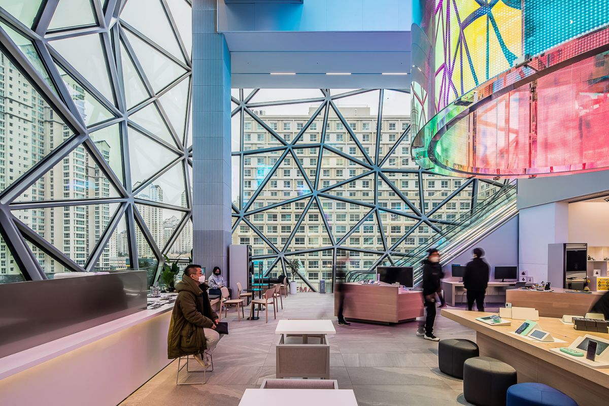 Some of the areas framed by the glass facades serve as large gallery spaces for various exhibitions and events