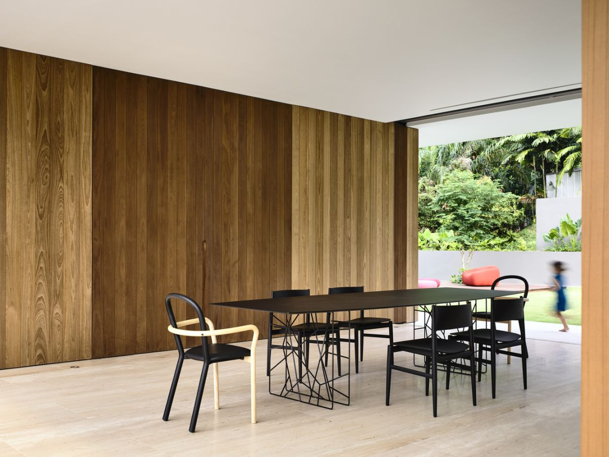 The focus remains on natural materials and finishes throughout the entire design of the house