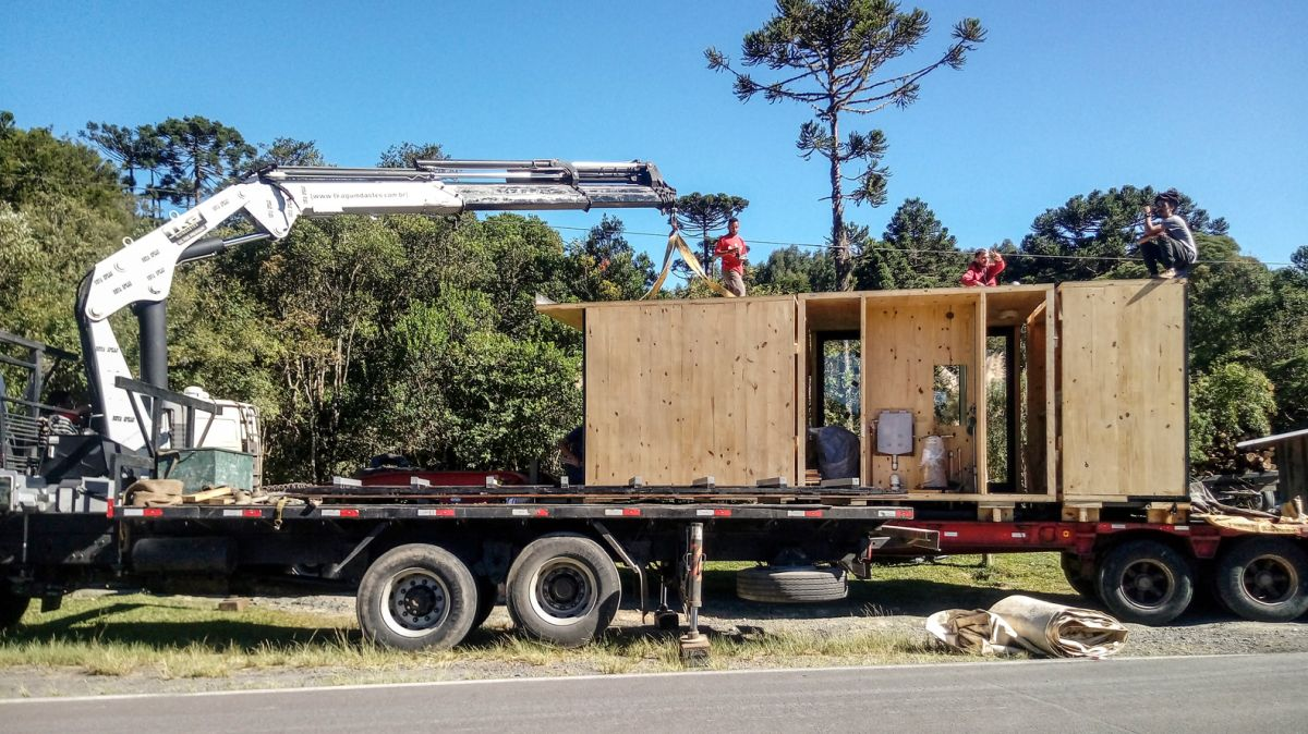 The cabin was delivered on site already assembled for the most part