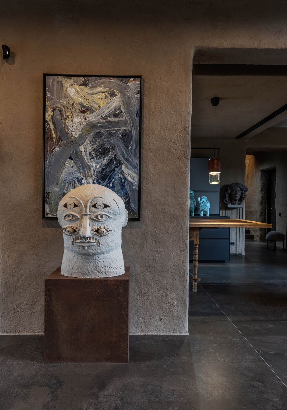 Lots of sculptures and paintings by local artists are displayed throughout the house