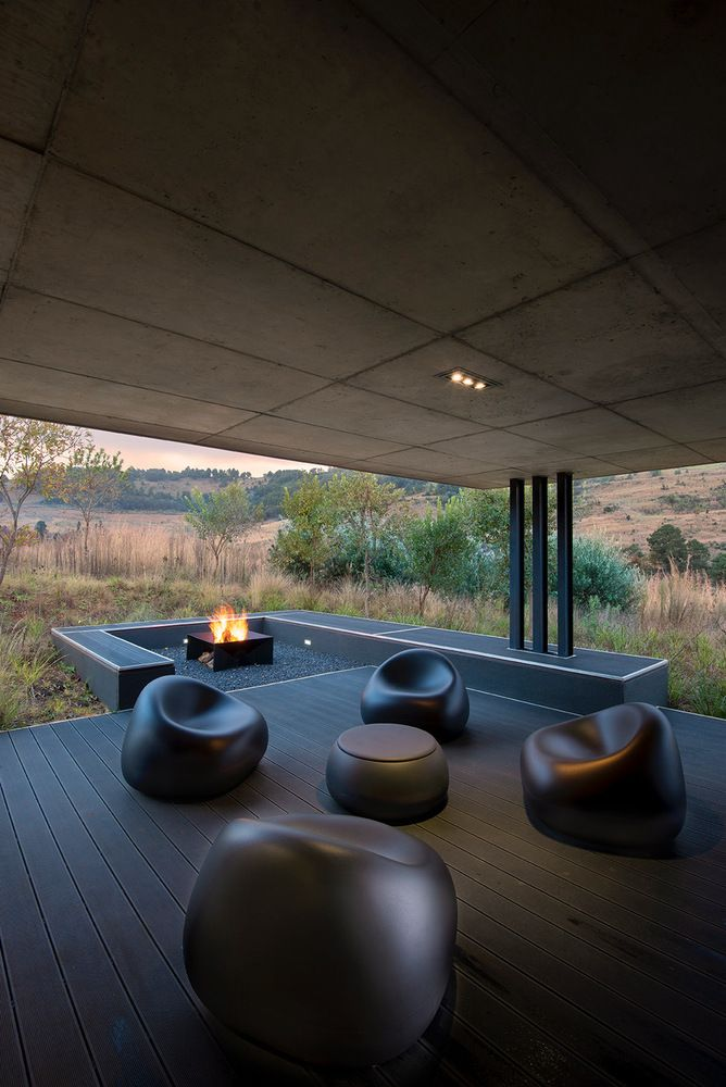 The outdoor areas have a very simple aesthetic which intentionally highlights the landscape