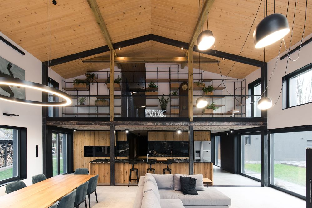Inside there's a large double-height living area which is one of the newly constructed sections