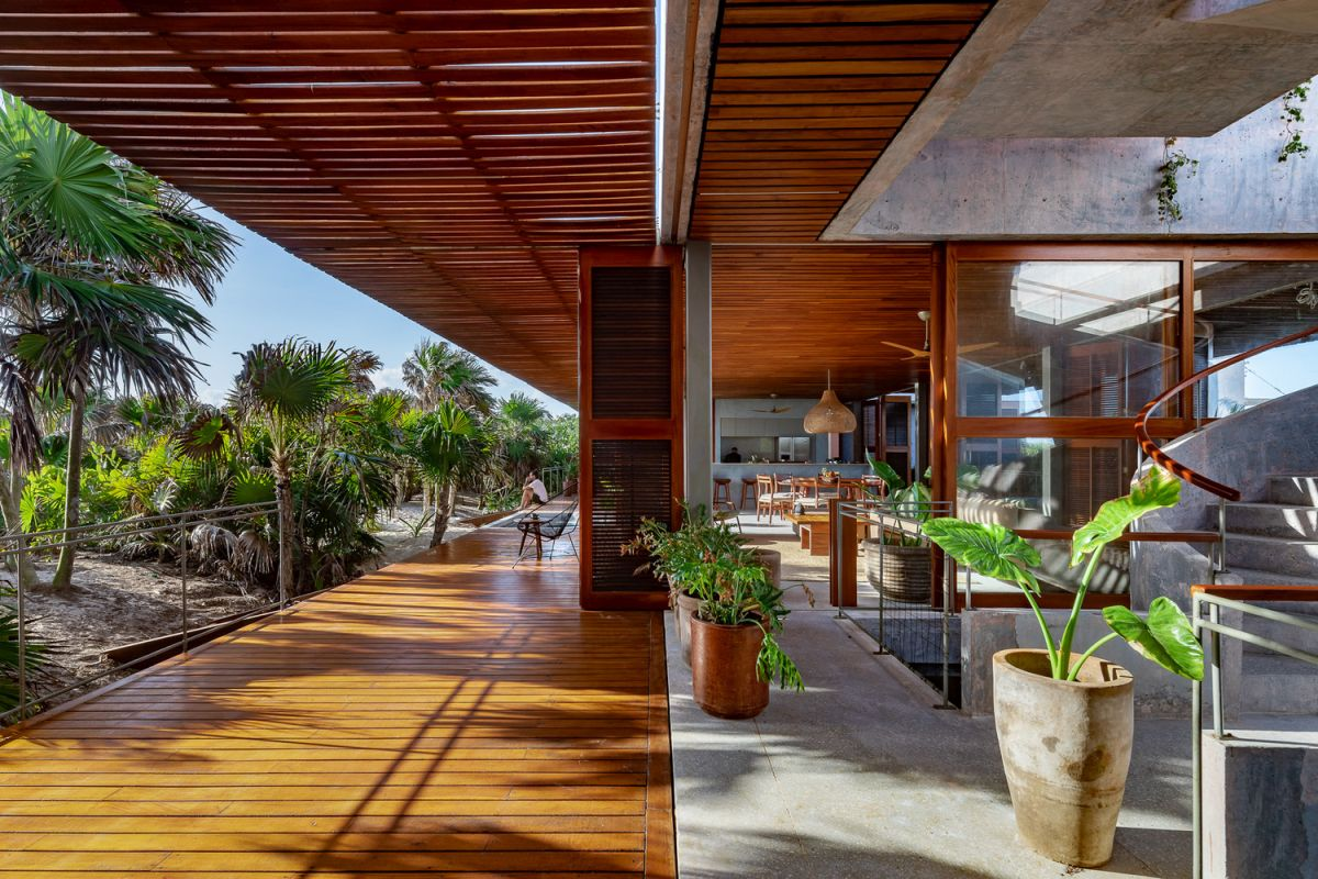 The interior living areas are connected to a series of open terraces and pergolas with gorgeous views of the immediate surroundings
