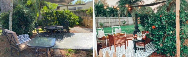 Gorgeous Patio Transformation With A Painted Floor and Reclaimed Furniture