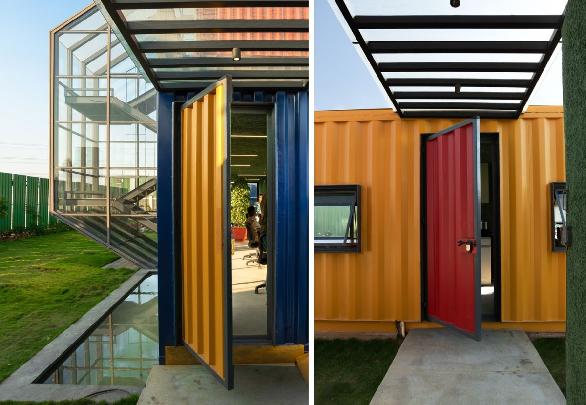 The containers have bright and colorful exterior with doors in contrasting nuances